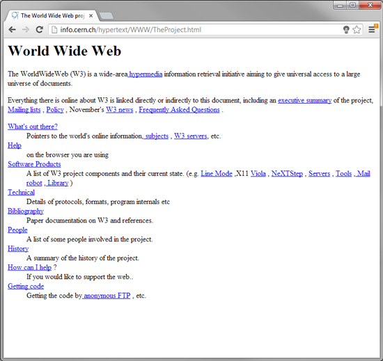 The very first Website ever, recently re-built and re-released.