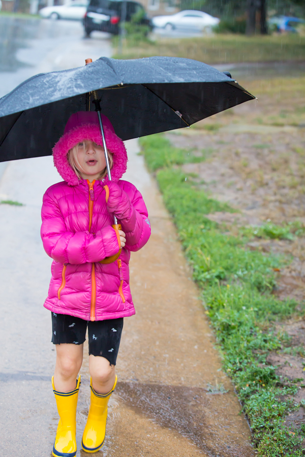 walking in the rain, during the September 12-14, 2013 floods in Boulder, Colorado.