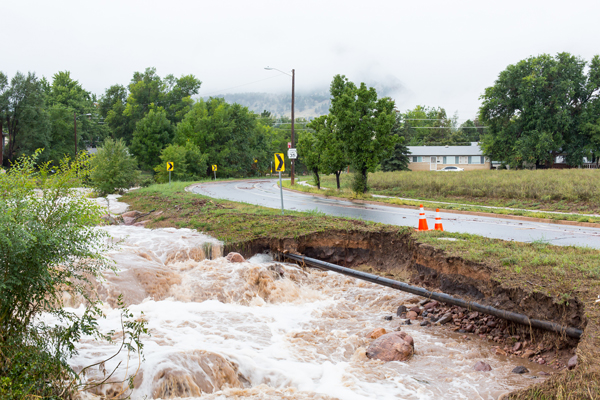 Boulder, CO Flood - Table Mesa Drive in Boulder, by the Yale cross street.