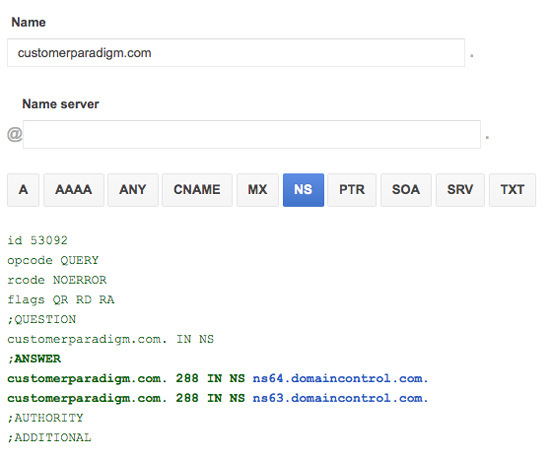 DNS Zone File for Customer Paradigm