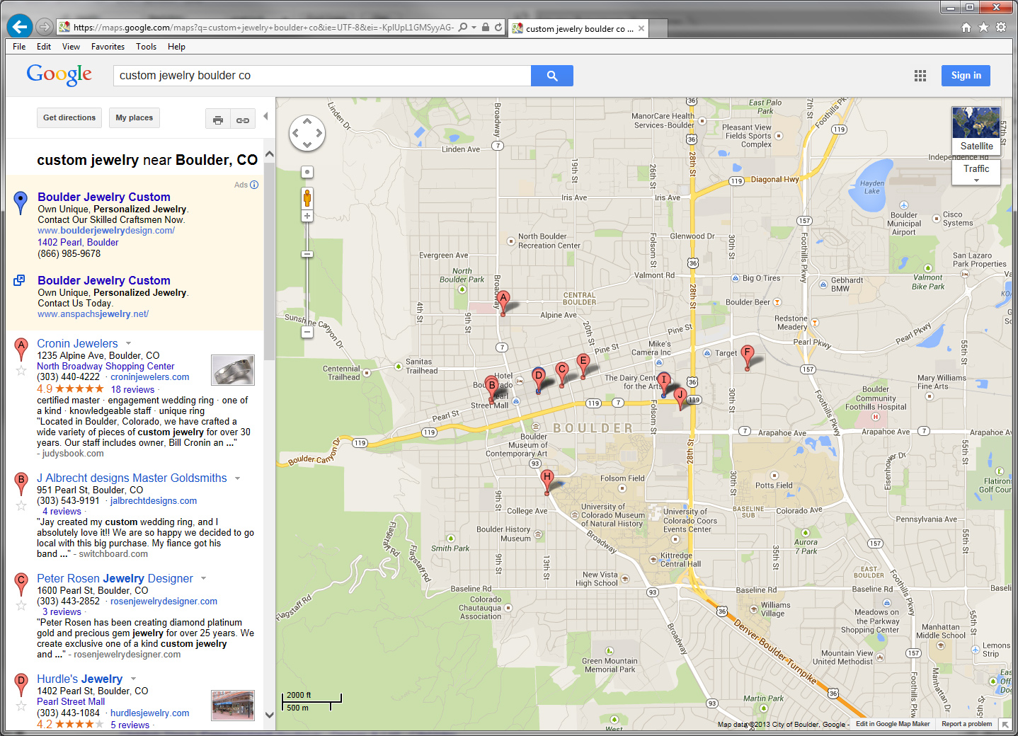 Google business photos may correlate with higher local for Jewelry stores boulder co