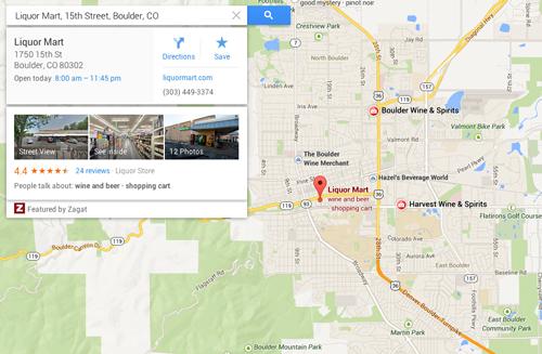 Google Maps - Liquor Mart Page