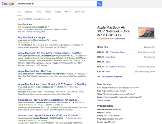 Google Adwords - Right Side is now Product Listing Information