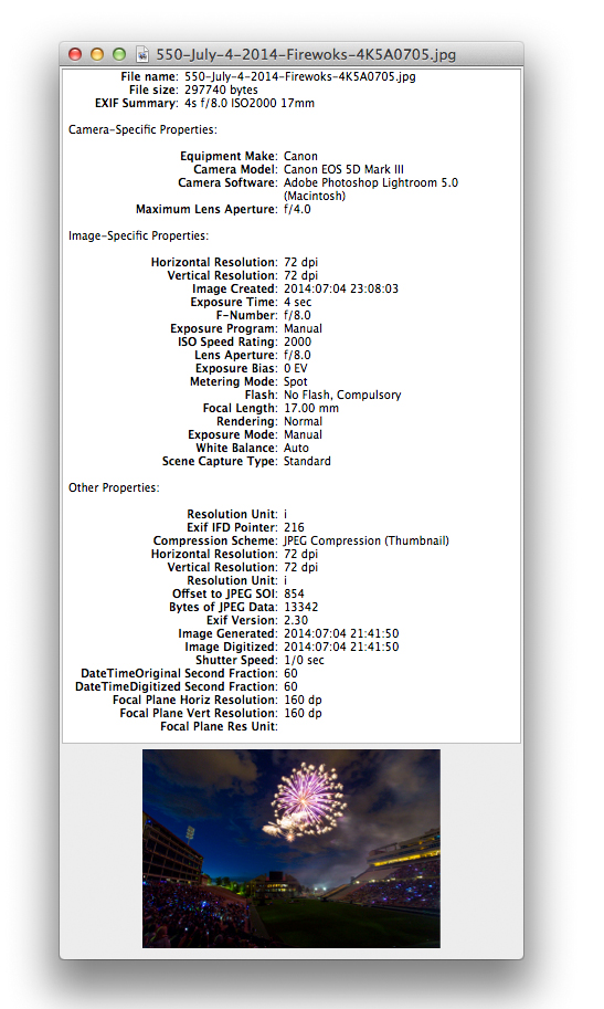 EXIF Data Viewer - Fireworks Photo