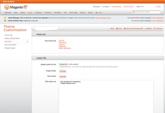 Magento Go CSS Editor - Screenshot
