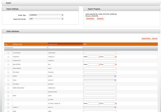 Magento Go - Export Customers for Site Migration - Screenshot