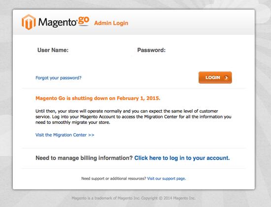 Magento Go - Admin Login
