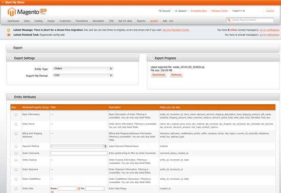 Magento Go - Orders Export Screenshot for Magento Go to Community 1.9.0.1 Migration