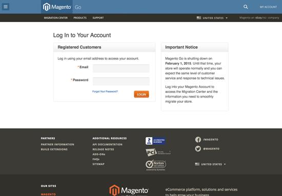Magento Go is Going Away - Screenshot