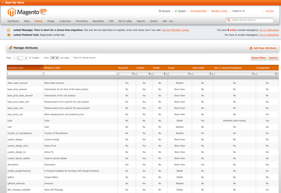 Magento Go - Manage Attributes for Conversion to Magento Community - Screenshot