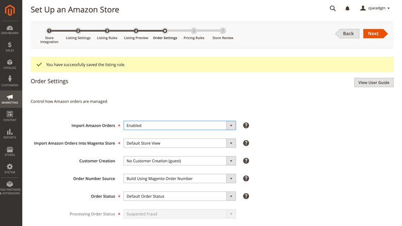Order Import settings for Amazon Sales Channel for Magento