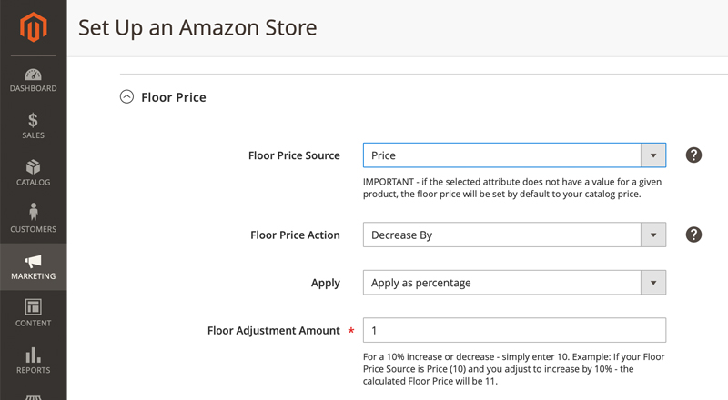 Floor Pricing for Amazon Sales Channel