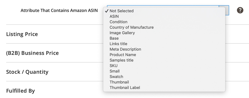 Attribute that contains Amazon ASIN for Magento Sales Channel