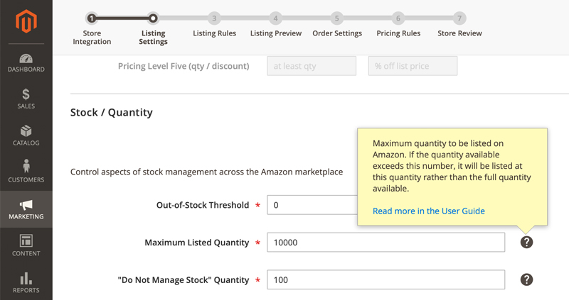 Stock Quantity for Listing Products in Amazon Seller Central - Amazon Sales Channel for Magento