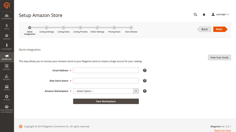 Setup Amazon Store for Third Party Marketplace - Magento