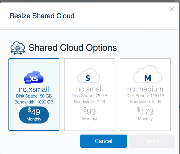 Resizing shared cloud hosting options: