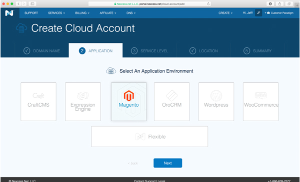 Select an application environment, such as Magento.