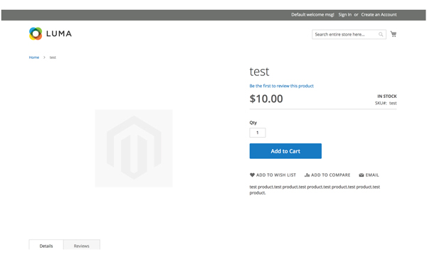 Sample test product page using Luma theme for Magento 2.2.4 on Nexcess cloud hosting account.