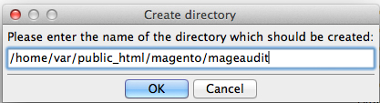 Create /mageaudit/ directory via FTP