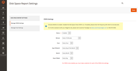Disk Space Magento 2 Extension - Cron Settings Screenshot
