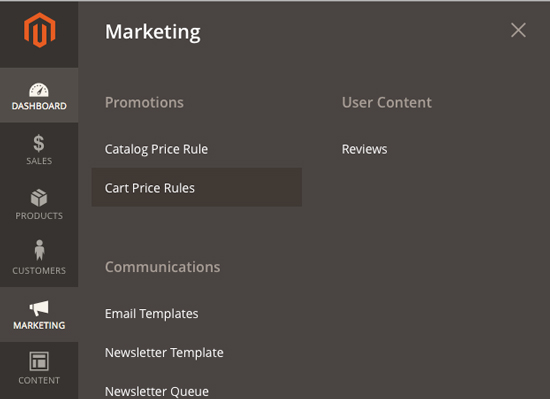 Magento 2 – How to create a Cart Price Rule from Admin