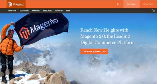 Magento 2.0 Has Launched! (Screenshot of Magento Home Page)