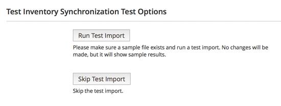 Test Inventory Synchronization Test Options - Run Test Import
