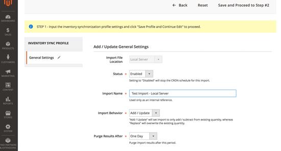 Screenshot of Step 1 - Add / Update General Settings - Click to View Larger Screenshot >>