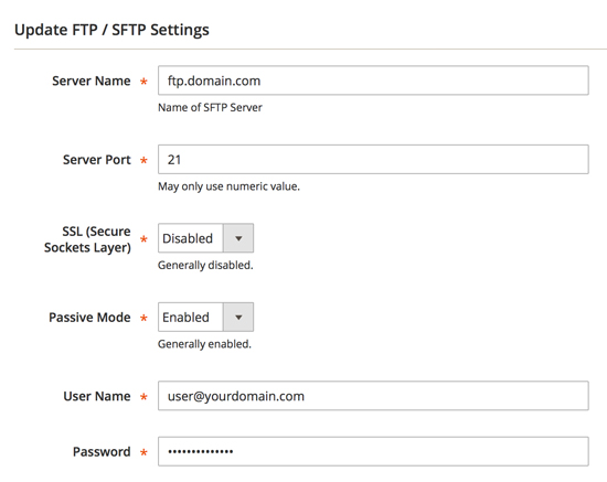 Screenshot - Update FTP / sFTP Settings - Click Here for Larger Screenshot >>