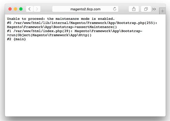Magento 2.0 Developer Mode - Maintenance Mode displays more verbose errors. Screenshot.