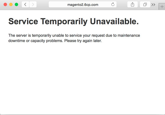 Default Maintenance Mode Message for Magento 2.0: Service Temporarily Unavailable - 503 error message.