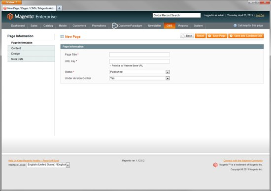 Magento Enterprise - Create Multiple Custom Landing Pages - Step 1
