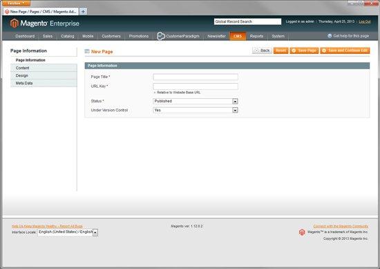Magento Enterprise - Create Multiple Custom Landing Pages - Step 1