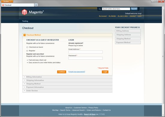 Magento Community Default Checkout Screen