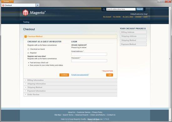 Magento Community Default Checkout Screen