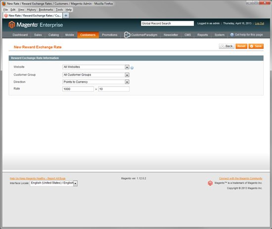 Magento Enterprise - Add Reward Points to Site