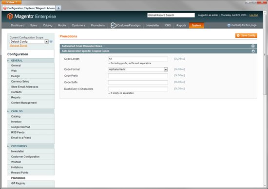 Magento Enterprise - Create Auto-Generated Custom Coupons for Customers