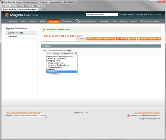 Magento Enterprise - Customer Segmentation via First Time Visitors