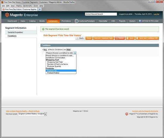 Magento Enterprise - Customer Segmentation via First Time Visitors