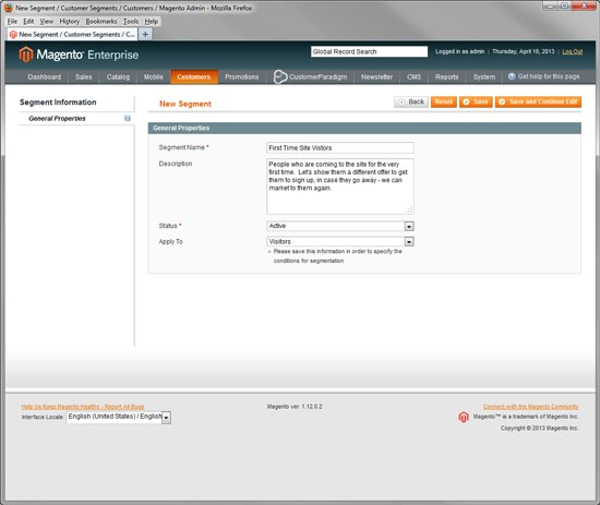 New Advanced Segment in Magento Enterprise