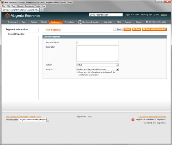 Magento Enterprise - Create New Customer Segment