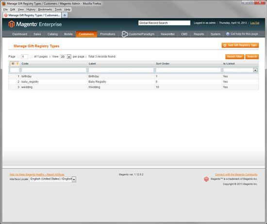 Magento Enterprise - Gift Registry System