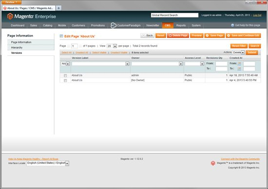 Magento Enterprise - Rollback - Version Control System