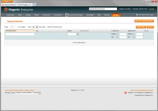 Magento Enterprise - Set up Staging Websites for Roll Back Version Control