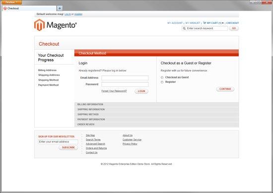 Magento Enterprise Default Checkout Screen