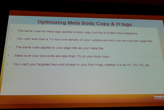 Optimizing Meta Body Copy and H1 Tags