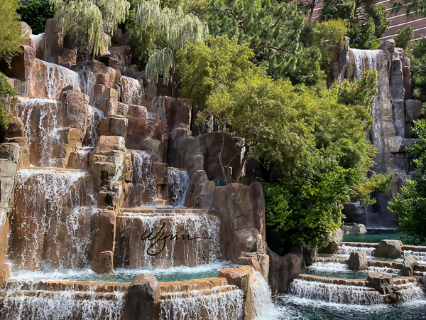 The Wynn waterfall.