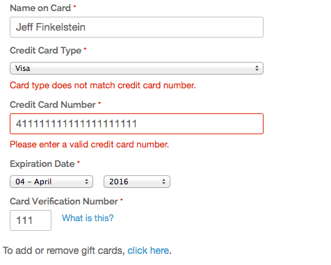 Credit Card Validation - Saved Method
