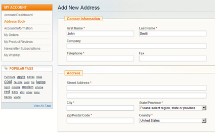 Magento - My Account - Customization: