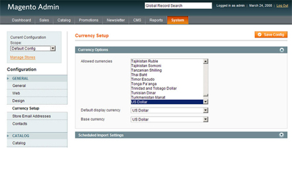 Choosing Currency and Payment Methods in Magento - Click for Larger Screenshot